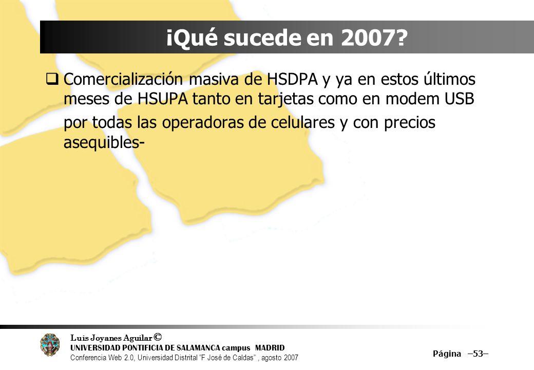 ¡Qué sucede en 2007 Comercialización masiva de HSDPA y ya en estos últimos meses de HSUPA tanto en tarjetas como en modem USB.