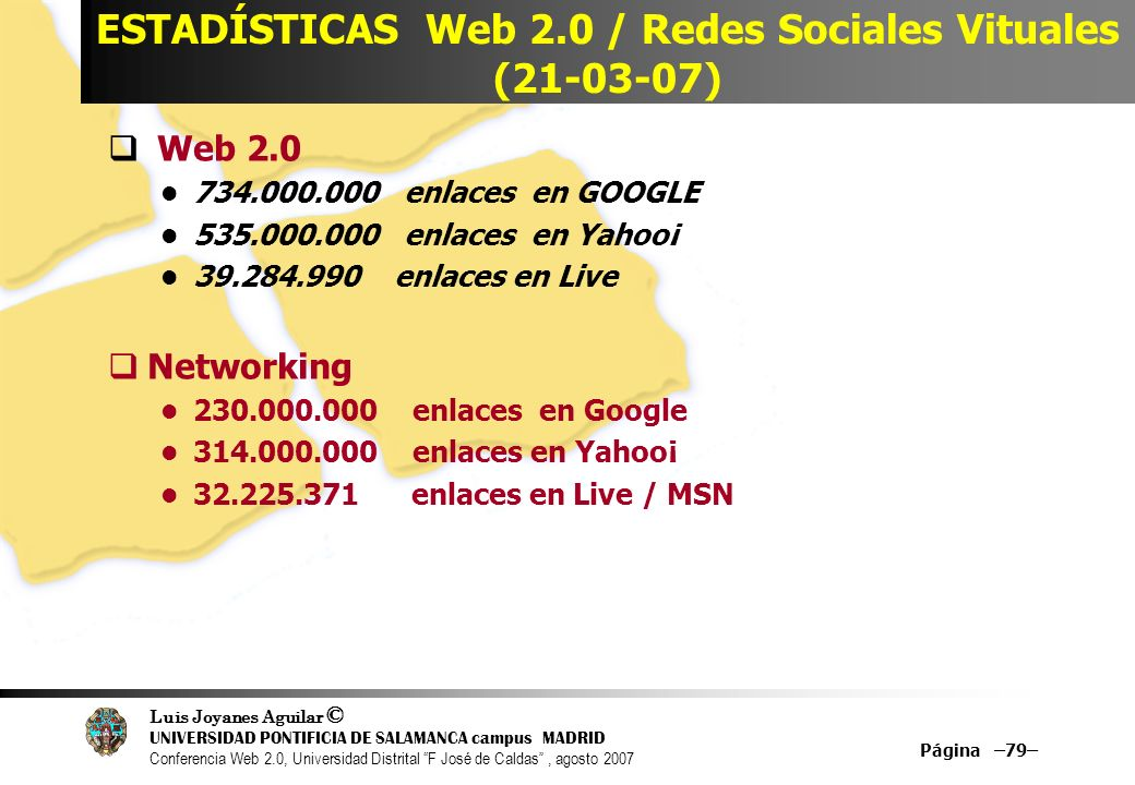 ESTADÍSTICAS Web 2.0 / Redes Sociales Vituales (21-03-07)