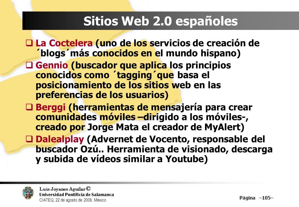 Sitios Web 2.0 españoles La Coctelera (uno de los servicios de creación de ´blogs´más conocidos en el mundo hispano)