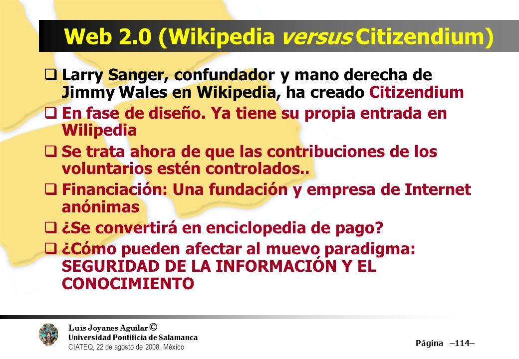Web 2.0 (Wikipedia versus Citizendium)
