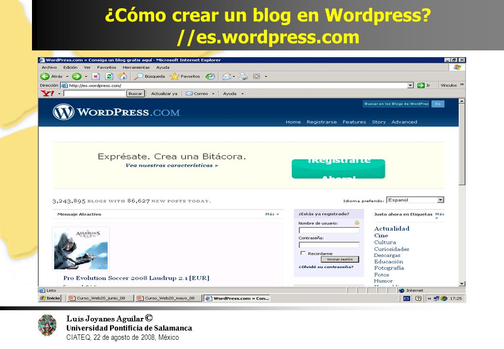 ¿Cómo crear un blog en Wordpress //es.wordpress.com