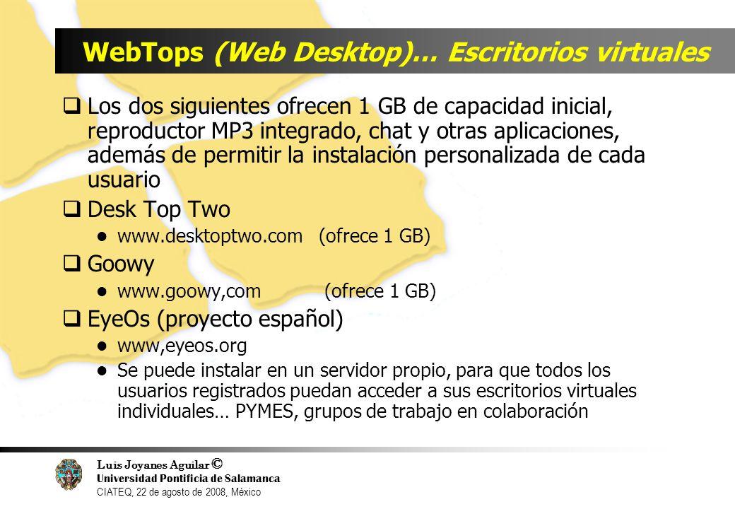 WebTops (Web Desktop)… Escritorios virtuales