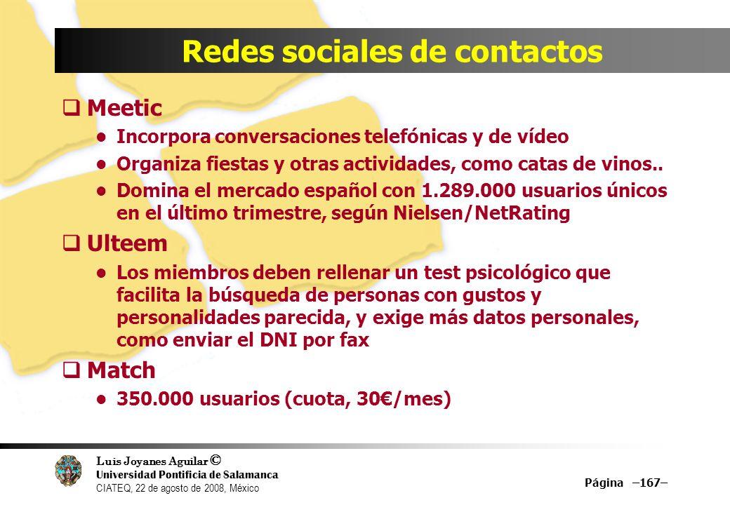 Redes sociales de contactos