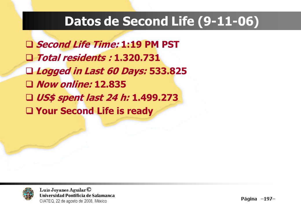 Datos de Second Life ( )