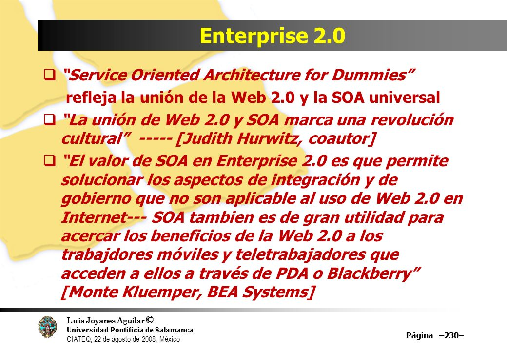 Enterprise 2.0 Service Oriented Architecture for Dummies