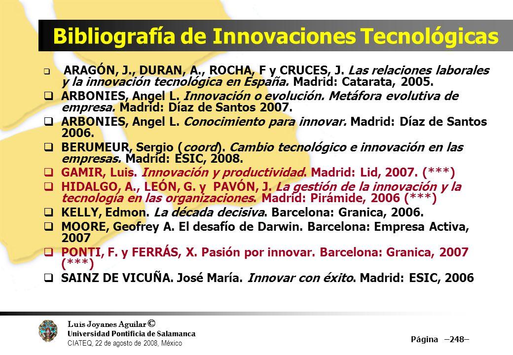 Bibliografía de Innovaciones Tecnológicas