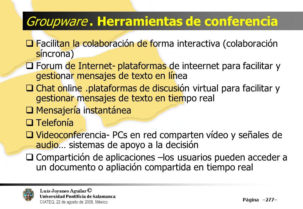 Groupware . Herramientas de conferencia