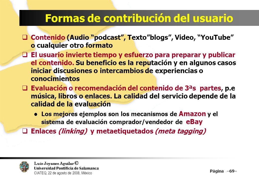 Formas de contribución del usuario