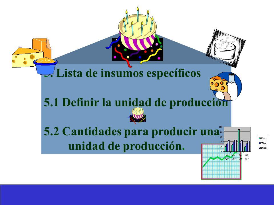 5. Lista de insumos específicos