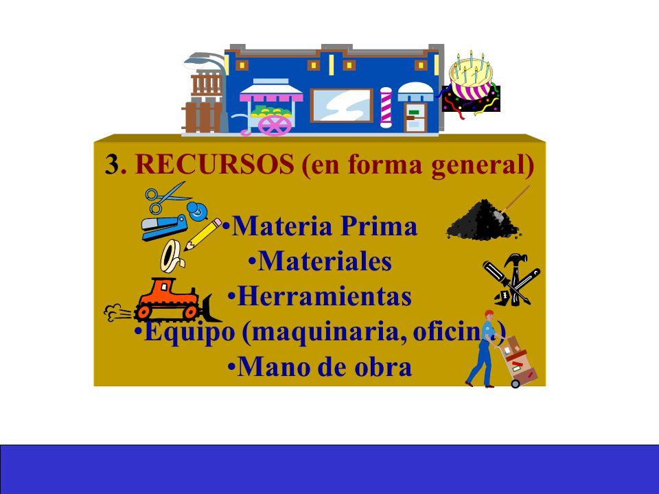 3. RECURSOS (en forma general) Equipo (maquinaria, oficina)