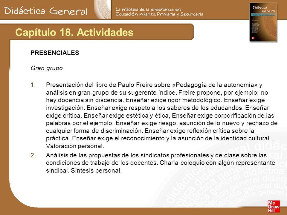 Capítulo 18. Actividades PRESENCIALES Gran grupo