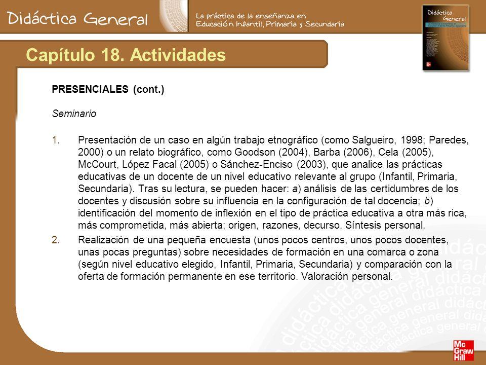 Capítulo 18. Actividades PRESENCIALES (cont.) Seminario