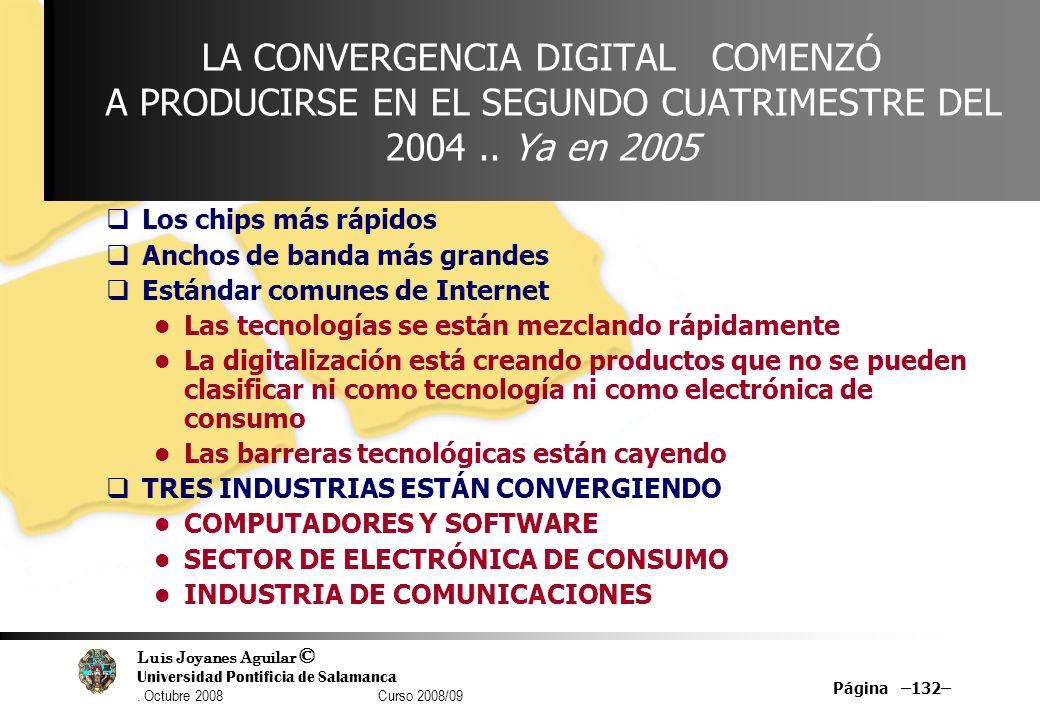 LA CONVERGENCIA DIGITAL COMENZÓ A PRODUCIRSE EN EL SEGUNDO CUATRIMESTRE DEL 2004 .. Ya en 2005