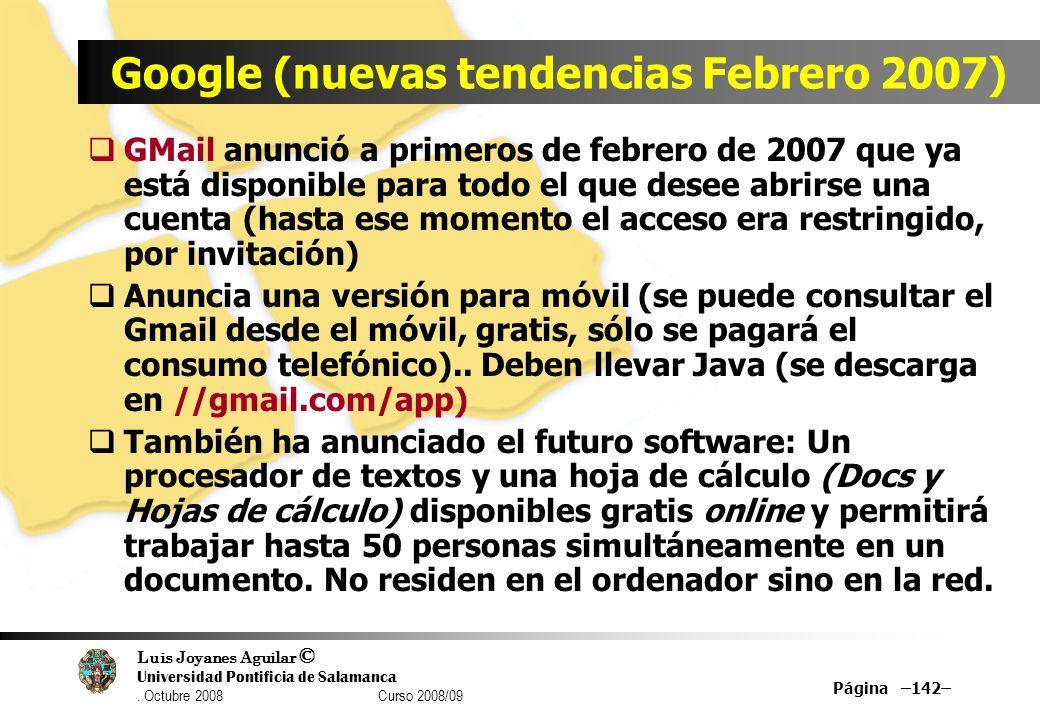 Google (nuevas tendencias Febrero 2007)