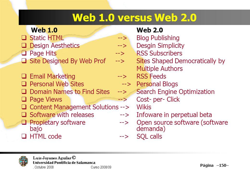 Web 1.0 versus Web 2.0 Web 1.0 Web 2.0. Static HTML --> Blog Publishing.