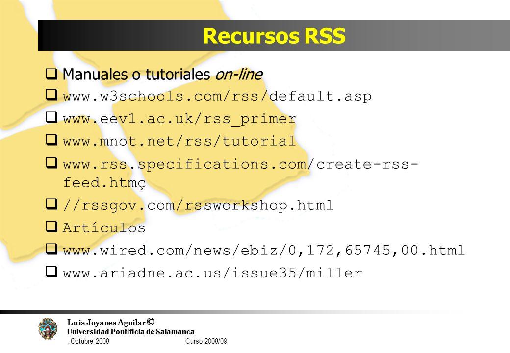 Recursos RSS Manuales o tutoriales on-line
