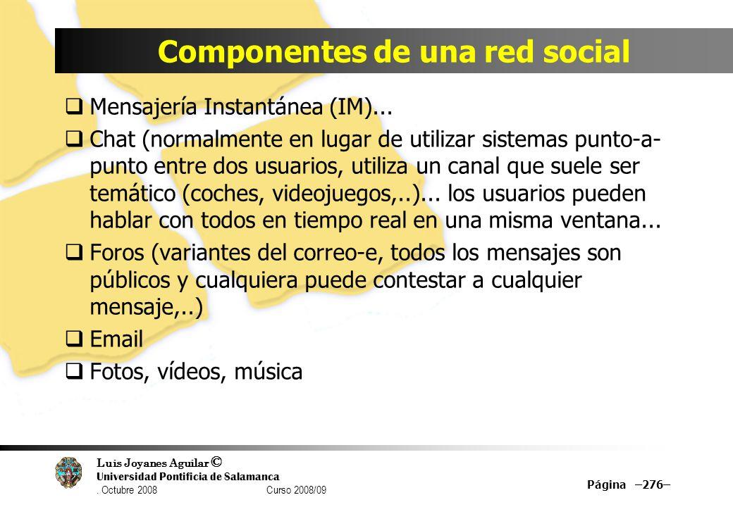 Componentes de una red social