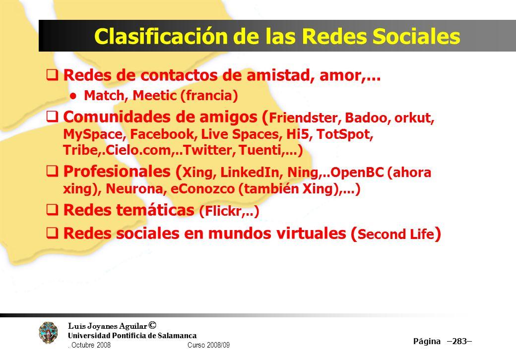 Clasificación de las Redes Sociales