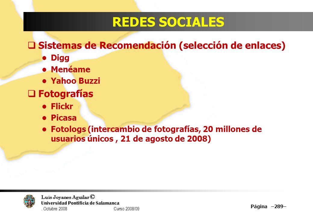 REDES SOCIALES Sistemas de Recomendación (selección de enlaces)