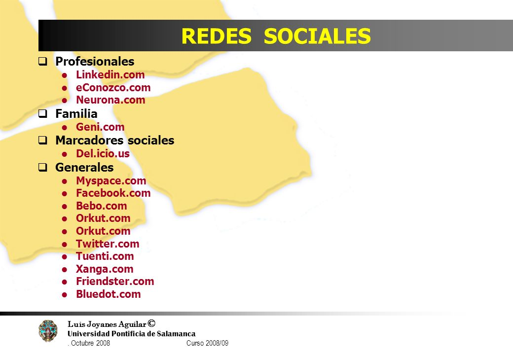 REDES SOCIALES Profesionales Familia Marcadores sociales Generales