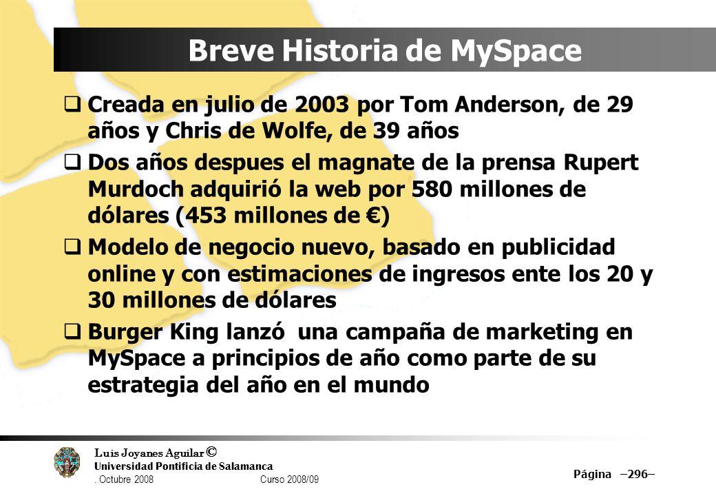 Breve Historia de MySpace