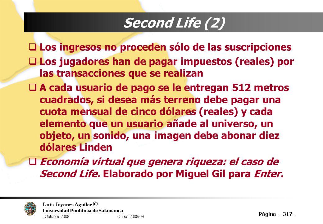 Second Life (2) Los ingresos no proceden sólo de las suscripciones