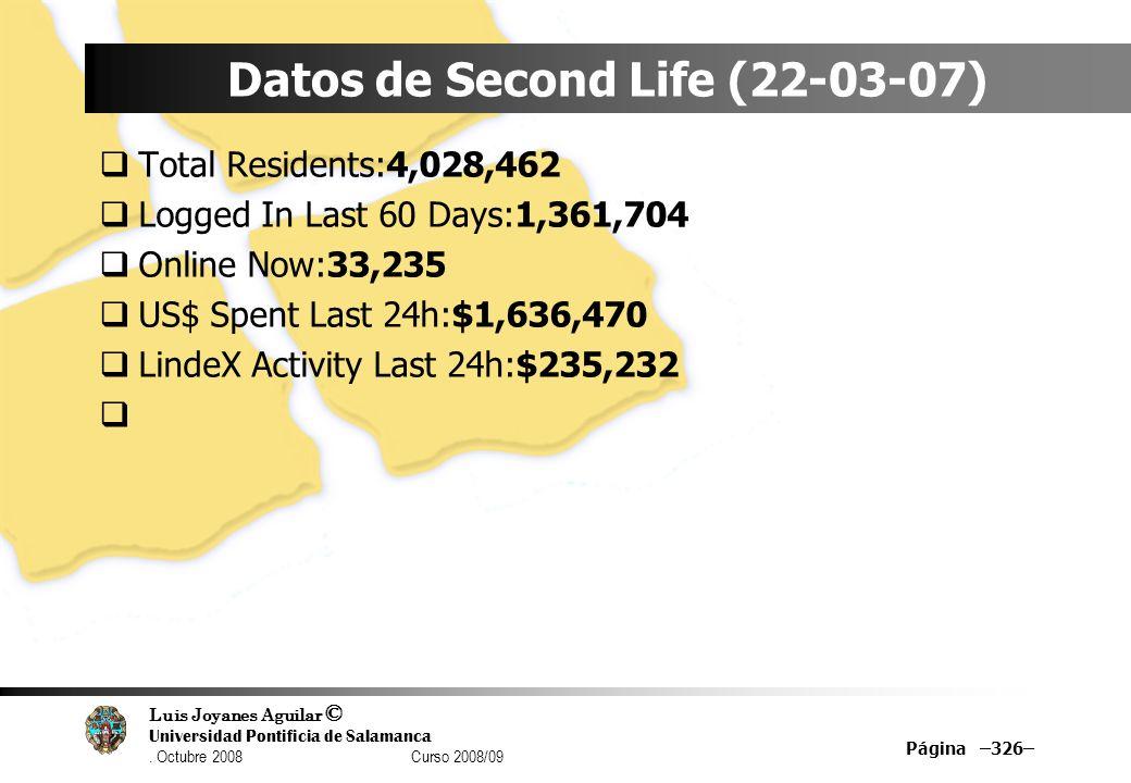 Datos de Second Life (22-03-07)