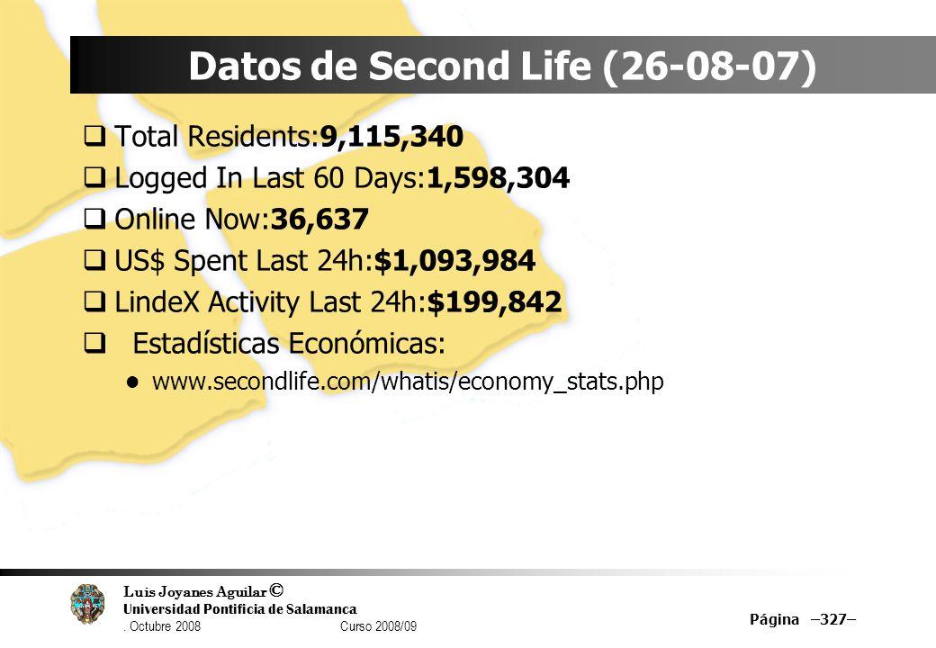 Datos de Second Life (26-08-07)