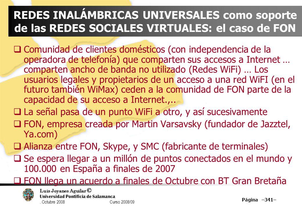 REDES INALÁMBRICAS UNIVERSALES como soporte de las REDES SOCIALES VIRTUALES: el caso de FON