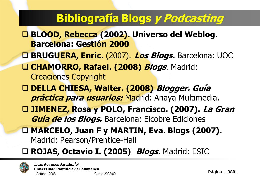 Bibliografía Blogs y Podcasting