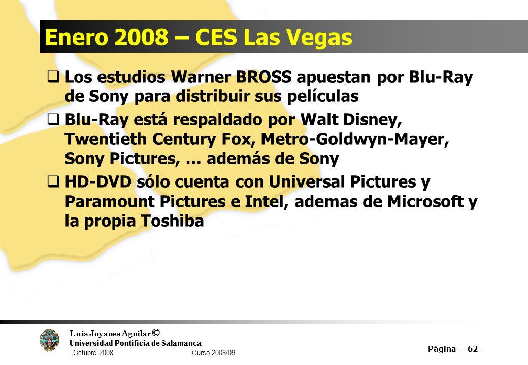 Enero 2008 – CES Las Vegas Los estudios Warner BROSS apuestan por Blu-Ray de Sony para distribuir sus películas.