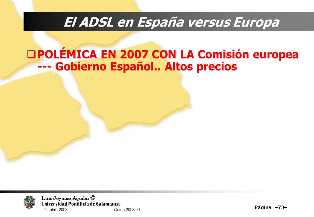 El ADSL en España versus Europa