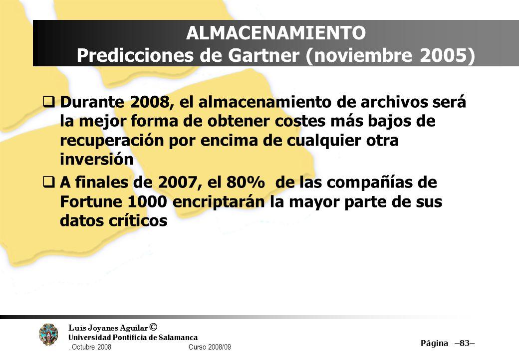 ALMACENAMIENTO Predicciones de Gartner (noviembre 2005)