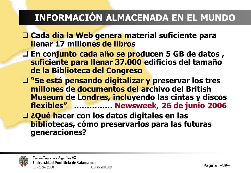 INFORMACIÓN ALMACENADA EN EL MUNDO