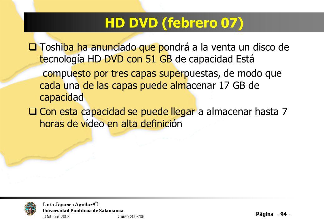 HD DVD (febrero 07) Toshiba ha anunciado que pondrá a la venta un disco de tecnología HD DVD con 51 GB de capacidad Está.