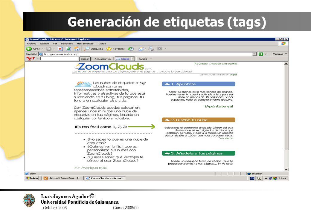 Generación de etiquetas (tags)