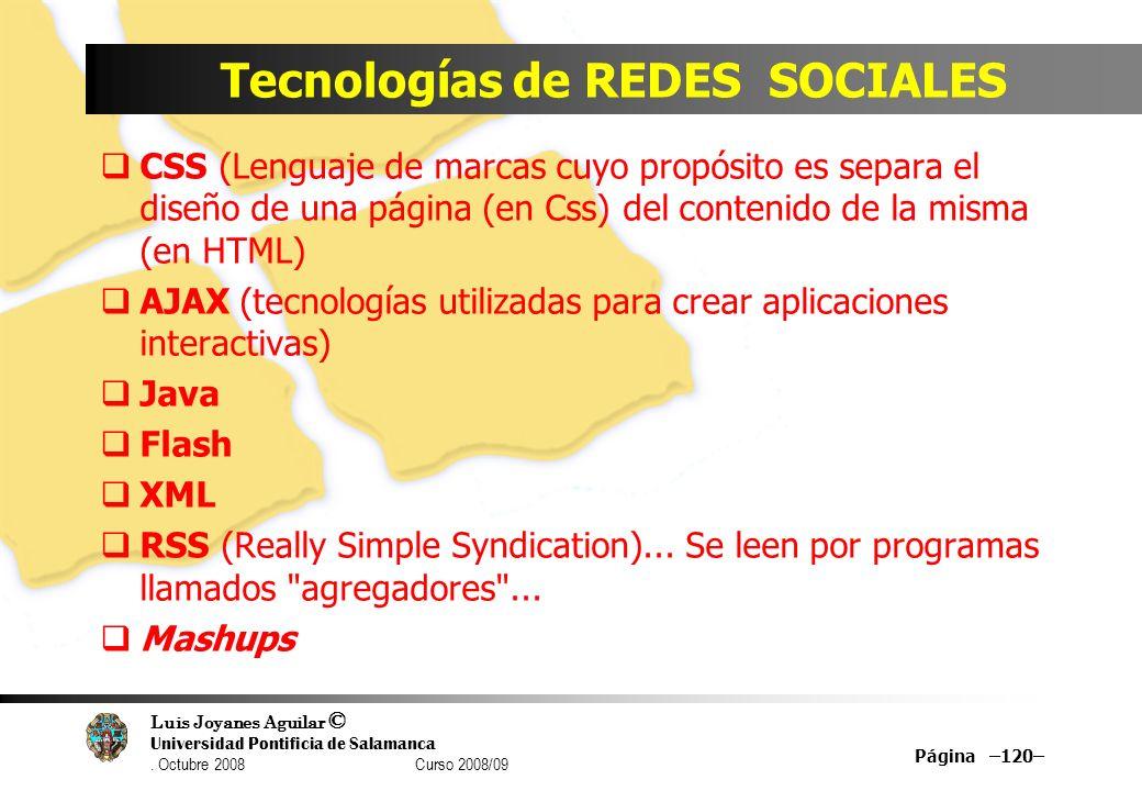 Tecnologías de REDES SOCIALES
