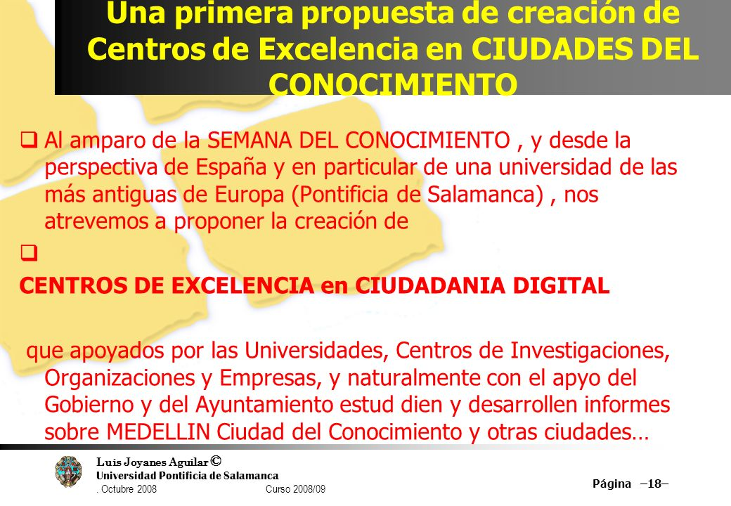 Una primera propuesta de creación de Centros de Excelencia en CIUDADES DEL CONOCIMIENTO