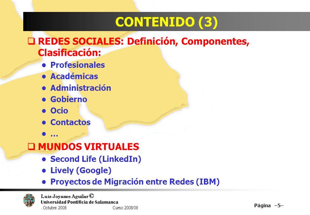 CONTENIDO (3) REDES SOCIALES: Definición, Componentes, Clasificación: