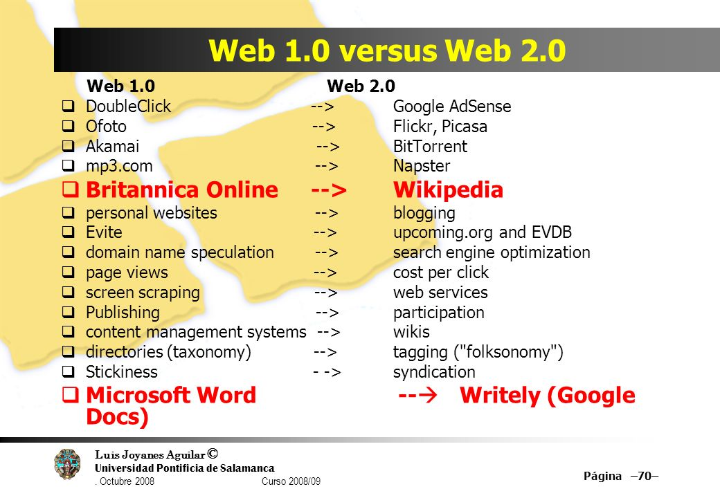 Web 1.0 versus Web 2.0 Britannica Online --> Wikipedia