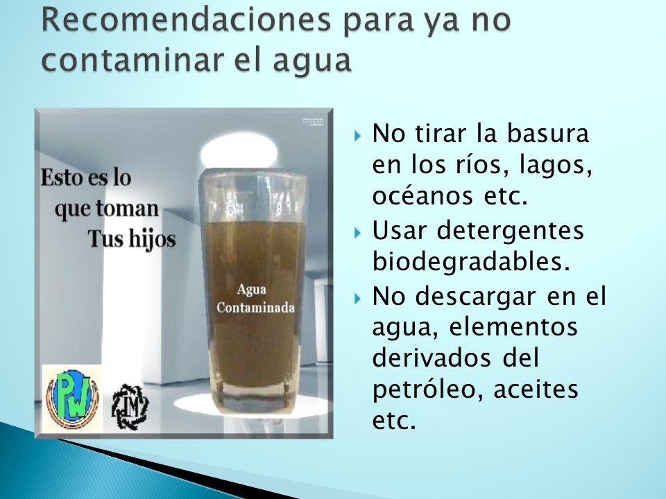 Recomendaciones para ya no contaminar el agua