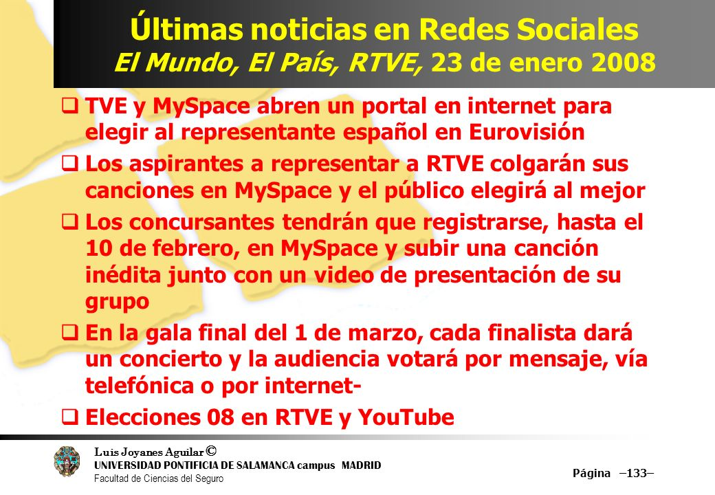 Últimas noticias en Redes Sociales El Mundo, El País, RTVE, 23 de enero 2008