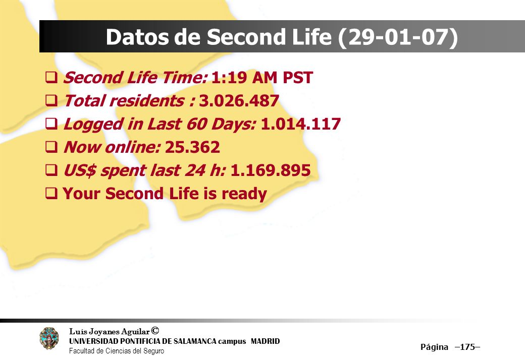Datos de Second Life (29-01-07)