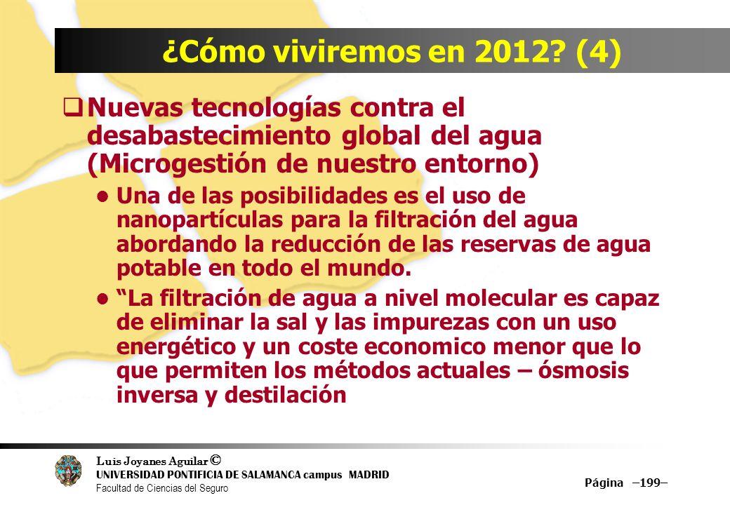 ¿Cómo viviremos en 2012 (4) Nuevas tecnologías contra el desabastecimiento global del agua (Microgestión de nuestro entorno)