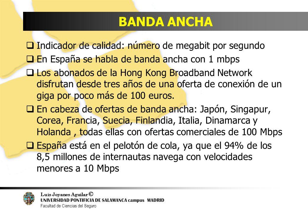 BANDA ANCHA Indicador de calidad: número de megabit por segundo