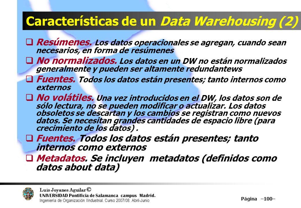 Características de un Data Warehousing (2)