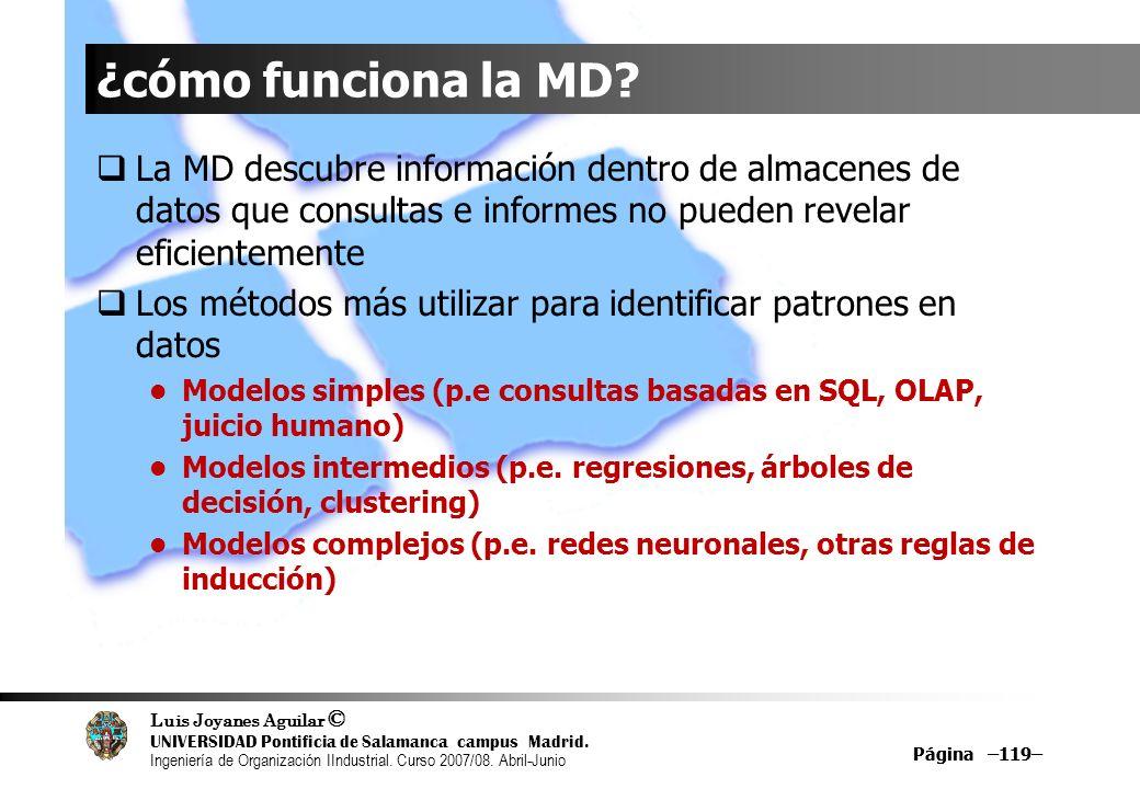 ¿cómo funciona la MD La MD descubre información dentro de almacenes de datos que consultas e informes no pueden revelar eficientemente.