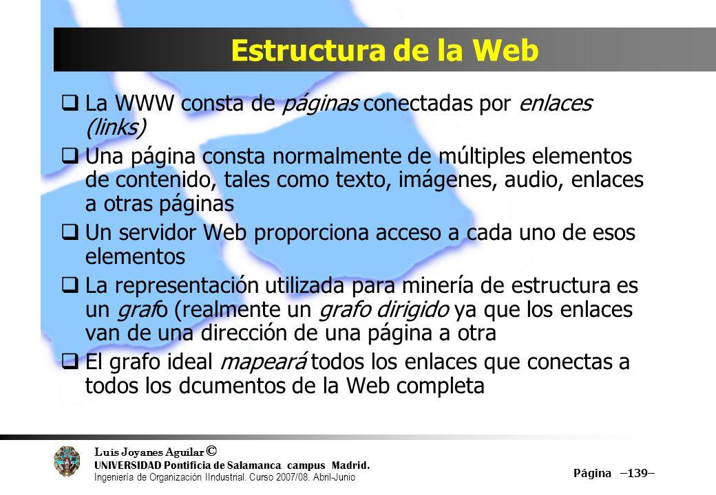 Estructura de la Web La WWW consta de páginas conectadas por enlaces (links)