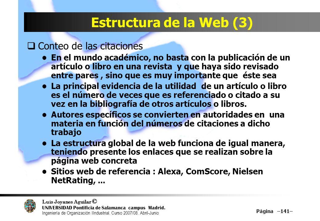 Estructura de la Web (3) Conteo de las citaciones