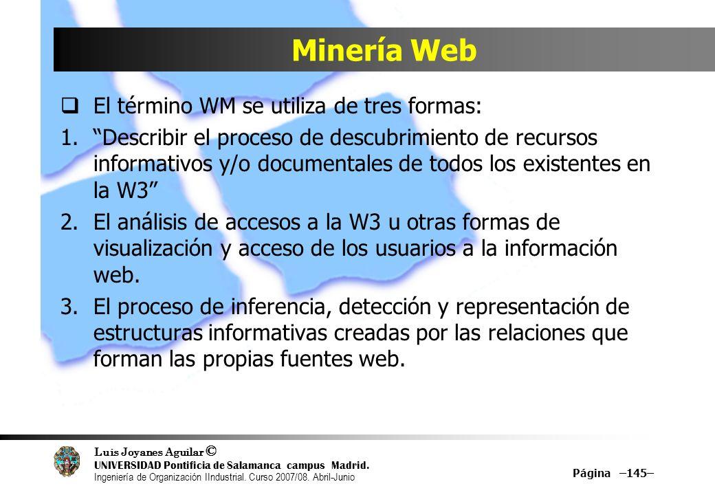 Minería Web El término WM se utiliza de tres formas: